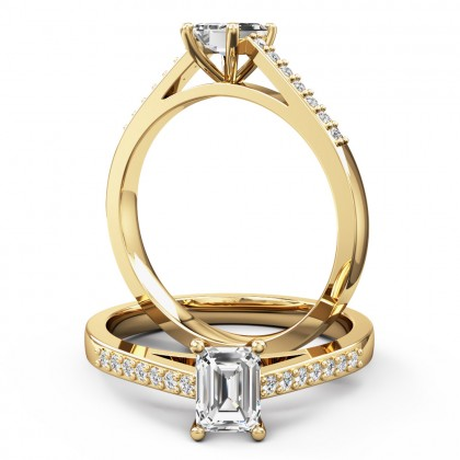 A sleek emerald cut diamond ring with shoulder stones in 18ct yellow gold
