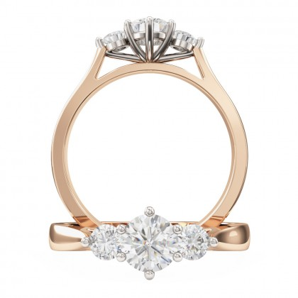 A sparkling Round Brilliant Cut three stone diamond ring in 18ct rose & white gold