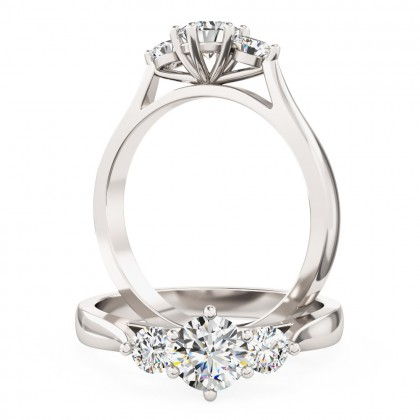 A sparkling Round Brilliant Cut three stone diamond ring in platinum