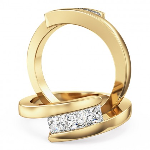 A unique tension set three stone twist diamond ring in 18ct yellow gold