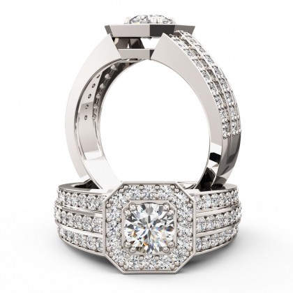 A magnificent Round Brilliant Cut cluster style diamond ring in 18ct white gold