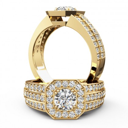 A magnificent round brilliant cut cluster style diamond ring in 18ct yellow gold