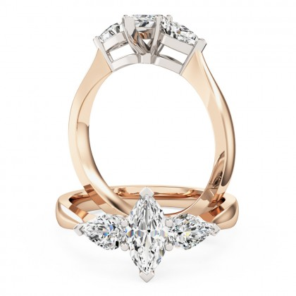 An elegant marquise and pear shaped three stone diamond ring in 18ct rose & white gold