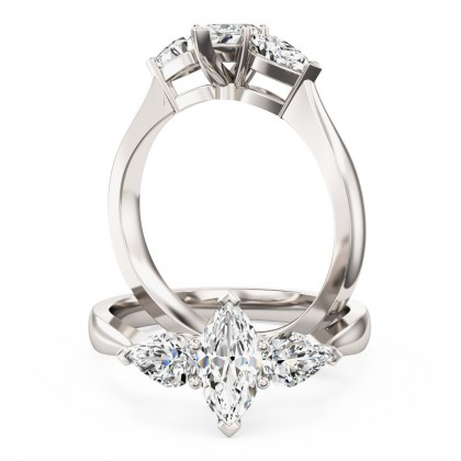 An elegant marquise and pear shaped three stone diamond ring in 18ct white gold