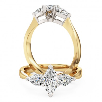 An elegant Marquise & Pear shaped three stone diamond ring in 18ct yellow & white gold