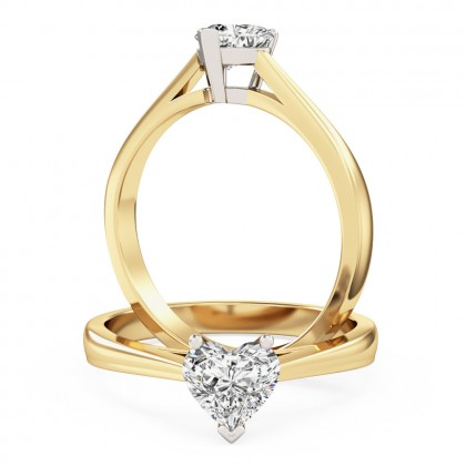 A charming heart-shaped solitaire diamond ring in 18ct yellow & white gold