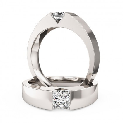 A striking tension set princess cut diamond ring in platinum