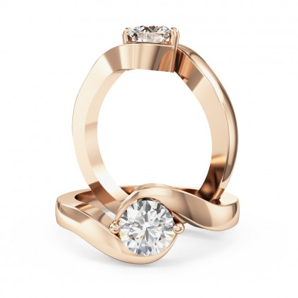 A stylish round brilliant cut twist diamond ring in 18ct rose gold