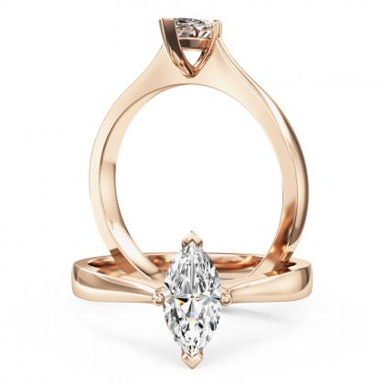 A stunning marquise cut solitaire diamond ring in 18ct rose gold