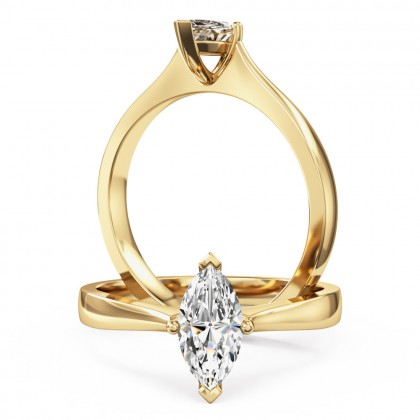A stunning marquise cut solitaire diamond ring in 18ct yellow gold