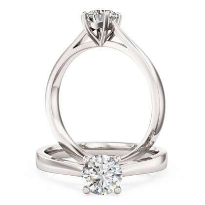 A classic Round Brilliant Cut solitaire diamond ring in platinum (In stock)