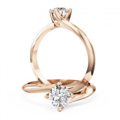 A modern Round Brilliant Cut solitaire twist diamond ring in 18ct rose gold (In stock)