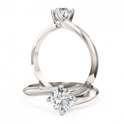 A modern Round Brilliant Cut solitaire twist diamond ring in platinum (In stock)