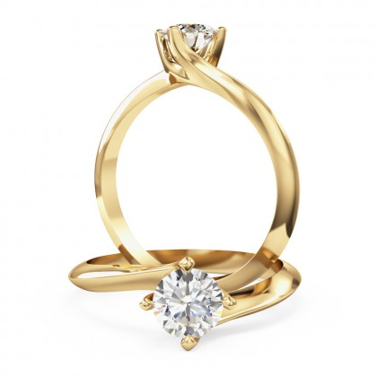 A modern Round Brilliant Cut solitaire twist diamond ring in 18ct yellow gold