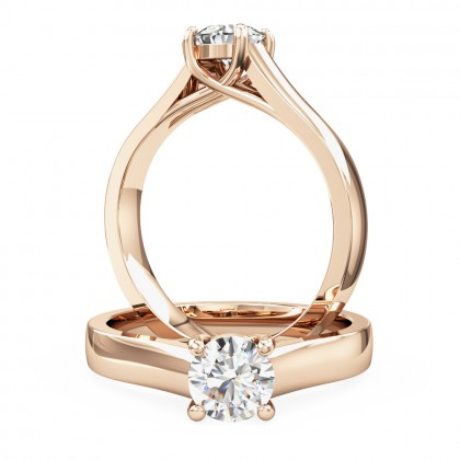 A stylish round brilliant cut solitaire diamond ring in 18ct rose gold