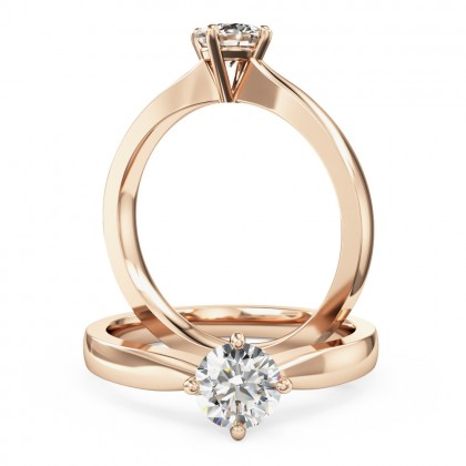 An ageless round brilliant cut solitaire diamond ring in 18ct rose gold