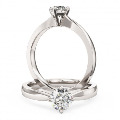 An ageless round brilliant cut solitaire diamond ring in 18ct white gold