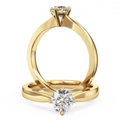 A classic Round Brilliant Cut solitaire diamond ring in 18ct yellow gold