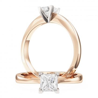 A classic princess cut solitaire diamond ring in 18ct rose & white gold