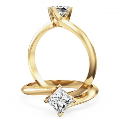 A stylish princess cut solitaire twist diamond ring in 18ct yellow gold
