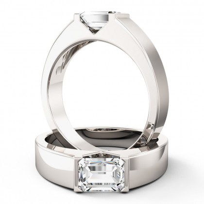 A stylish Emerald Cut solitaire diamond ring in platinum (In stock)