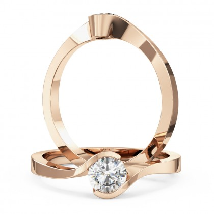 A stylish round brilliant cut solitaire twist diamond ring in 18ct rose gold