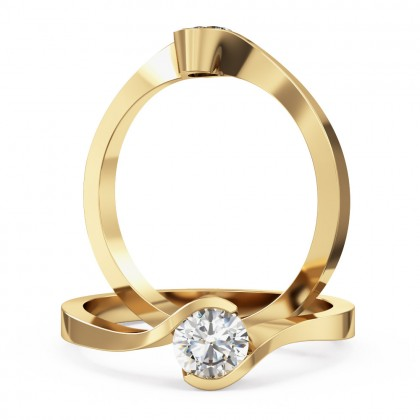 A stylish Round Brilliant Cut solitaire twist diamond ring in 18ct yellow gold