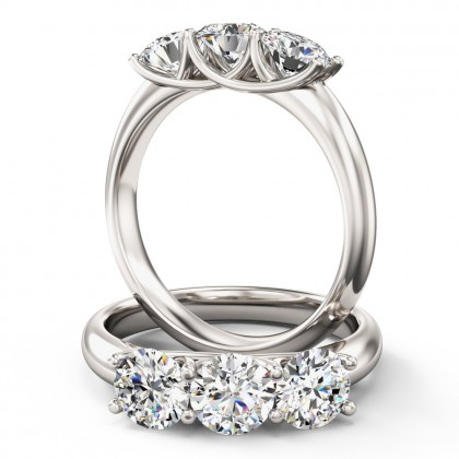 An elegant Round Brilliant Cut three stone diamond ring in 18ct white gold
