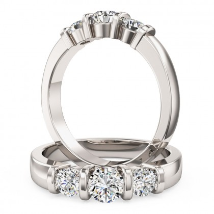 A unique Round Brilliant Cut three stone diamond ring in 18ct white gold (In stock)