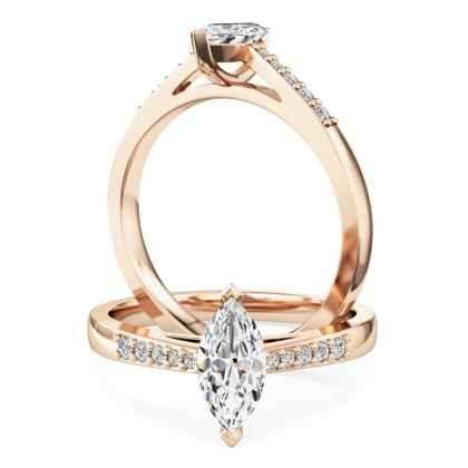 A stunning marquise cut diamond ring with shoulder stones in 18ct rose gold