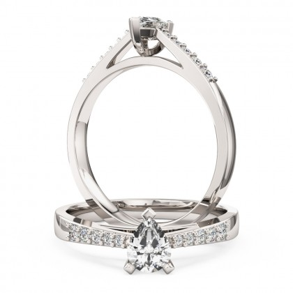 An elegant pear shaped diamond ring with shoulder stones in 18ct white gold