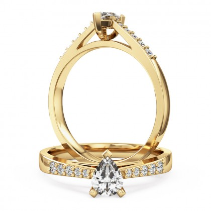 An elegant pear shaped diamond ring with shoulder stones in 18ct yellow gold
