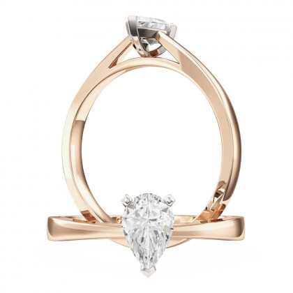 An elegant Pear Shaped solitaire diamond ring in 18ct rose & white gold
