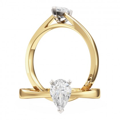 An elegant Pear Shaped solitaire diamond ring in 18ct yellow & white gold