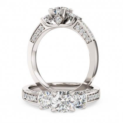 A breathtaking Round Brilliant Cut three stone diamond ring with shoulder stones in 18ct white gold (In stock)