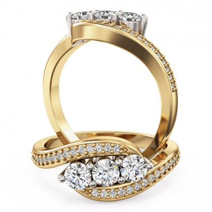A stunning Round Brilliant Cut Diamond Ring with shoulder stones in 18ct yellow & white gold