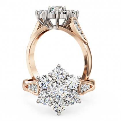 A stunning round brilliant cut diamond cluster ring in 18ct rose & white gold