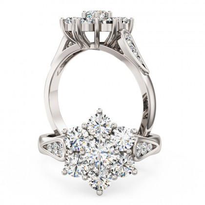 A stunning Round Brilliant Cut diamond cluster ring in platinum