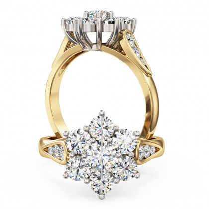 A stunning Round Brilliant Cut diamond cluster ring in 18ct yellow & white gold