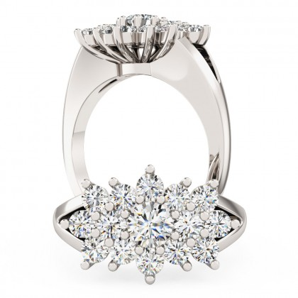 A beautiful Round Brilliant Cut dress diamond ring in 18ct white gold