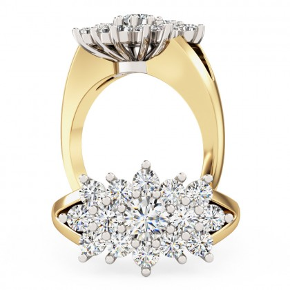 A beautiful Round Brilliant Cut dress diamond ring in 18ct yellow & white gold