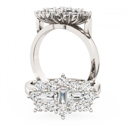 A beautiful Baguette & Round Brilliant Cut cluster diamond ring in platinum