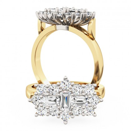 A beautiful Baguette & Round Brilliant Cut cluster diamond ring in 18ct yellow & white gold (In stock)