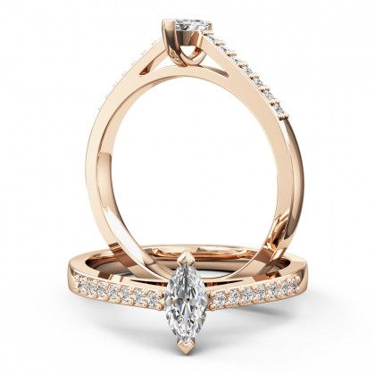 An elegant marquise cut diamond ring with shoulder stones in 18ct rose gold