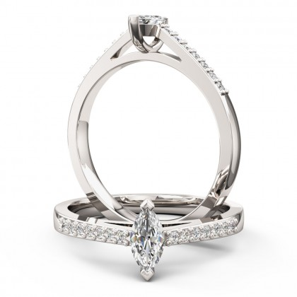 An elegant Marquise Cut diamond ring with shoulder stones in 18ct white gold