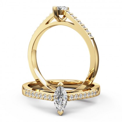 An elegant marquise cut diamond ring with shoulder stones in 18ct yellow gold