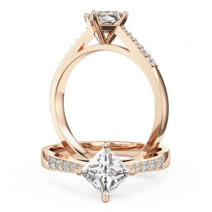 An elegant princess cut diamond ring with shoulder stones in 18ct rose gold