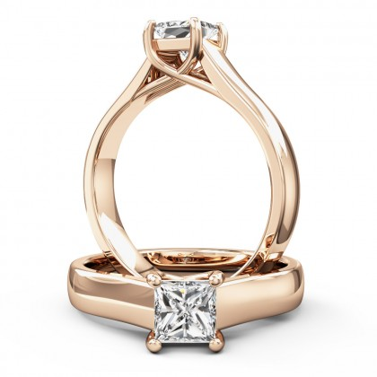 A beautiful princess cut solitaire diamond ring in 18ct rose gold