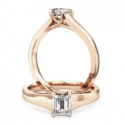 A stunning emerald cut solitaire diamond ring in 18ct rose gold