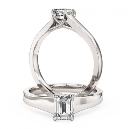 A stunning emerald cut solitaire diamond ring in platinum